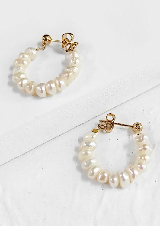 Faux Pearl Beaded Mini Hoop Earrings White