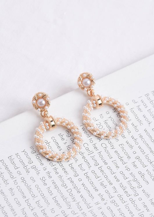 Faux Pearl Double Ring Drop Earrings Gold