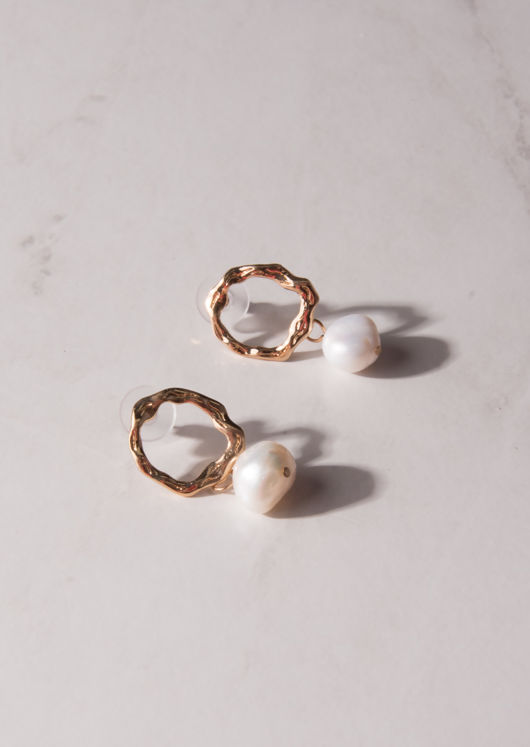 Faux Pearl Drop Textured Circle Earrings Gold