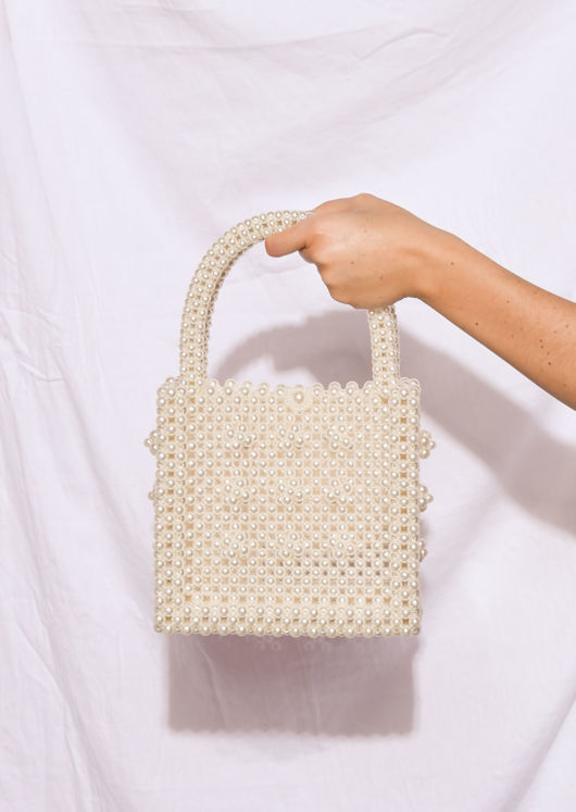 Faux Pearl Embellished Tote Handbag White