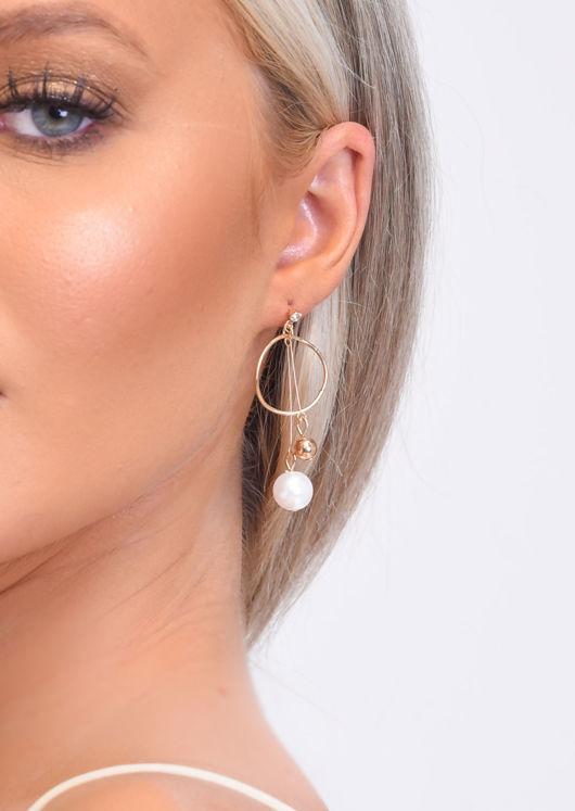 Faux Pearl Hoop Drop Earrings Gold