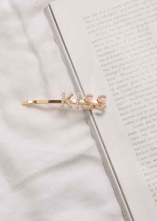 Faux Pearl Kiss Hair Slide Gold
