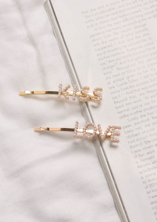 Faux Pearl Love Hair Slide Gold