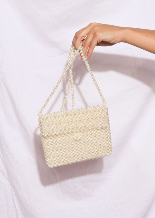 Faux Pearl Rectangle Envelope Shoulder Bag White
