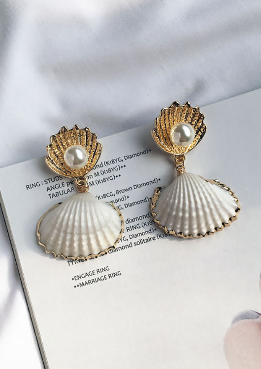 Faux Pearl Shell Drop Earrings Gold