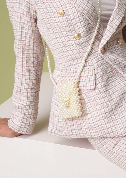 Faux Pearl Shoulder Micro Mini Envelope Bag White