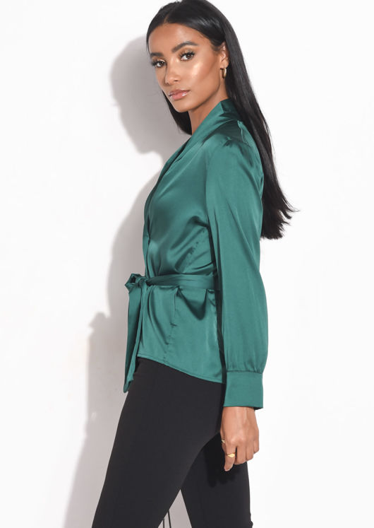 Faux Satin Belted Long Sleeve Shirt Green