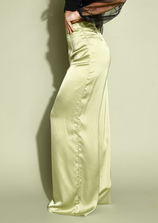 Faux Satin Wide Leg Trousers Lime Green