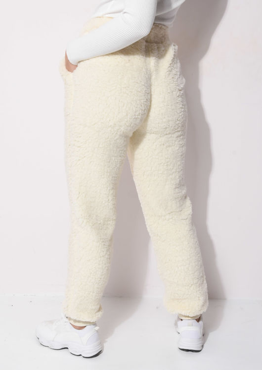 Faux Sheepskin Supersoft Teddy Borg Jogger Trousers Beige