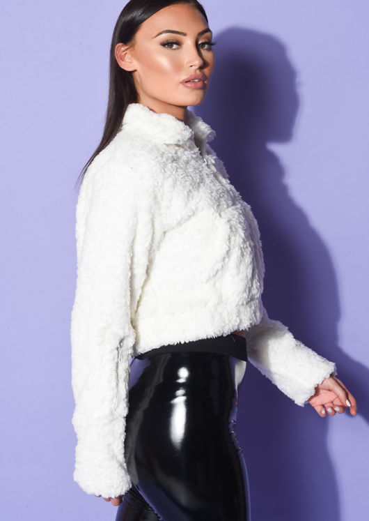 Faux Sheepskin Zip Up Teddy Borg Cropped Jacket White