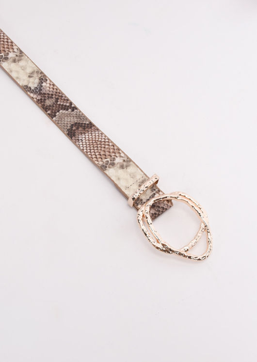 Faux Snake Print Gold Hammered Buckle Belt Multi