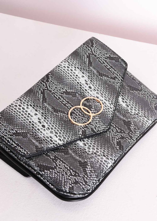 Faux Snakeskin Circle Envelope Clutch Bag Grey