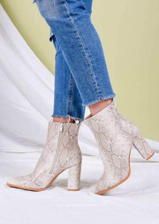 Faux Snakeskin Pointed Toe Ankle Boots Beige