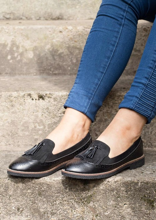 Faux Suede and Leather Tassel Brogue Loafers Black