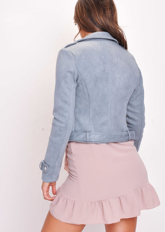 Faux Suede Biker Jacket Grey