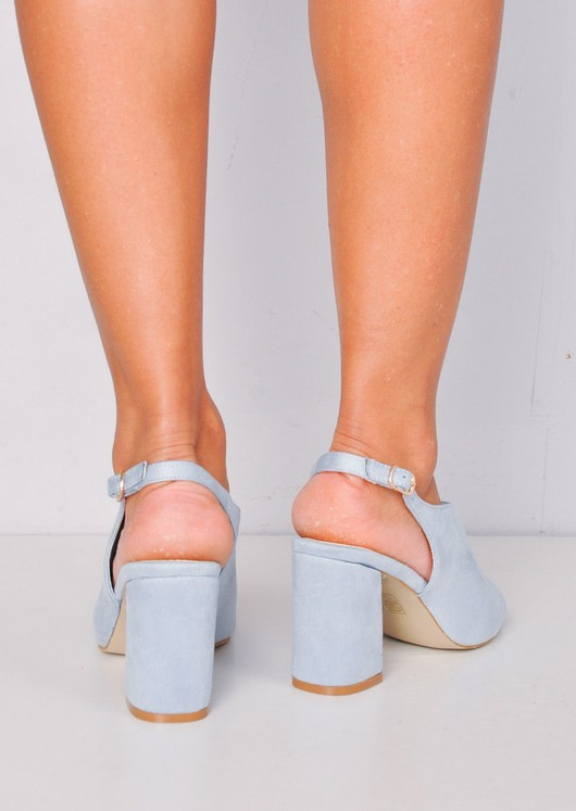 Peep Toe Faux Suede Block Heeled Ankle Boots Light Blue