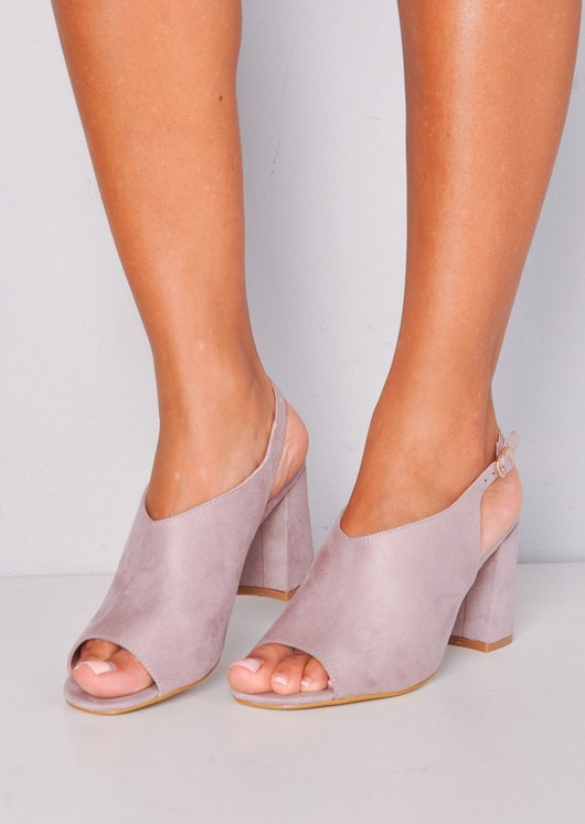 Peep Toe Faux Suede Block Heeled Ankle Boots Lilac Purple