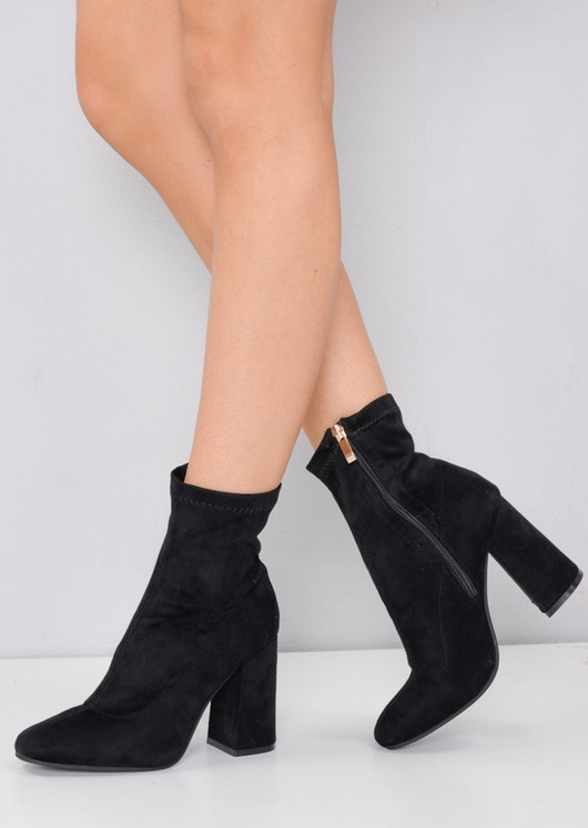 Faux Suede Zip Round Toe Block Heel Sock Boots Black