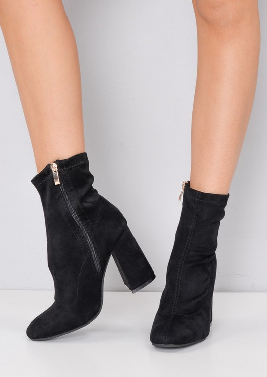 Faux Suede Block Heel Sock Boot Black