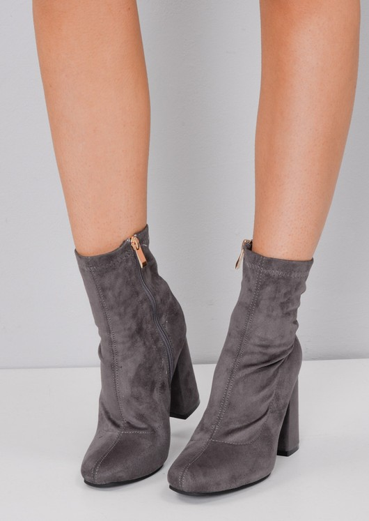 Faux Suede Block Heel Sock Boot Grey