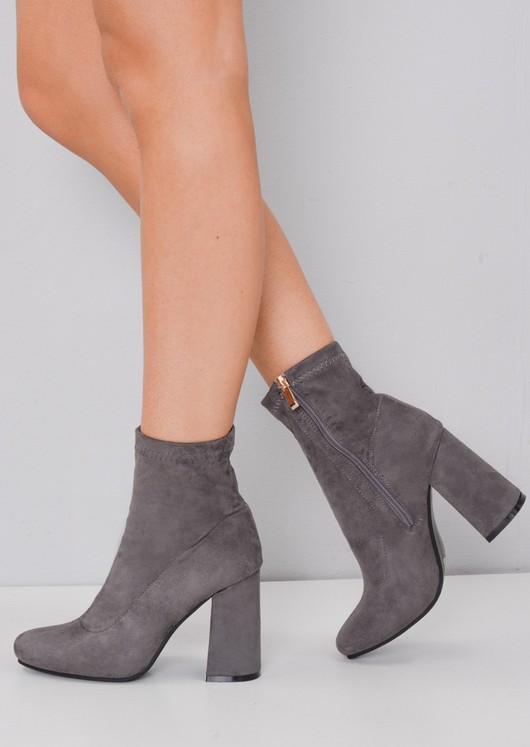 Faux Suede Zip Round Toe Block Heel Sock Boots Grey