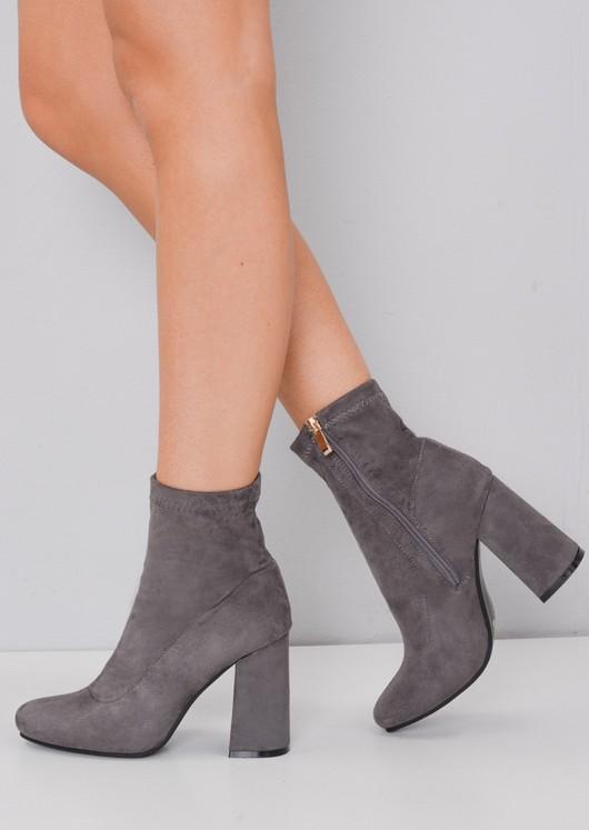 60953ad9f95 Faux Suede Zip Round Toe Block Heel Sock Boots Grey