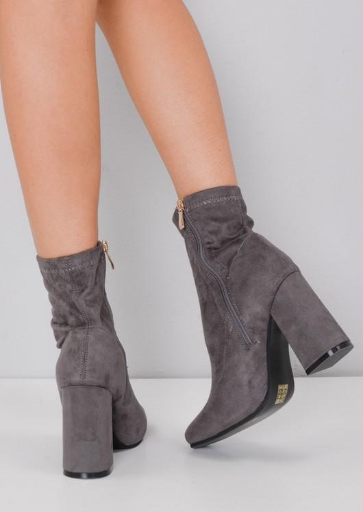 Faux Suede Block Heel Sock Boot Grey