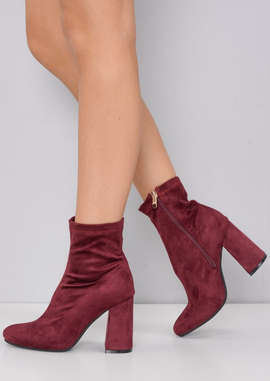 Faux Suede Block Heel Sock Boot Red