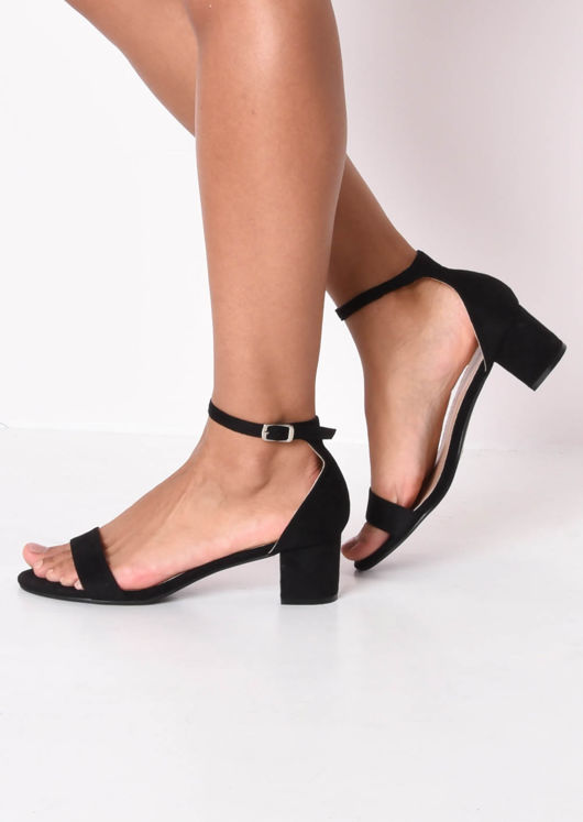 Faux Suede Block Heeled Strappy Sandals Black