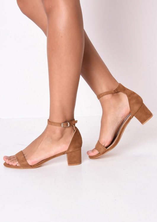 Faux Suede Block Heeled Strappy Sandals Camel Brown