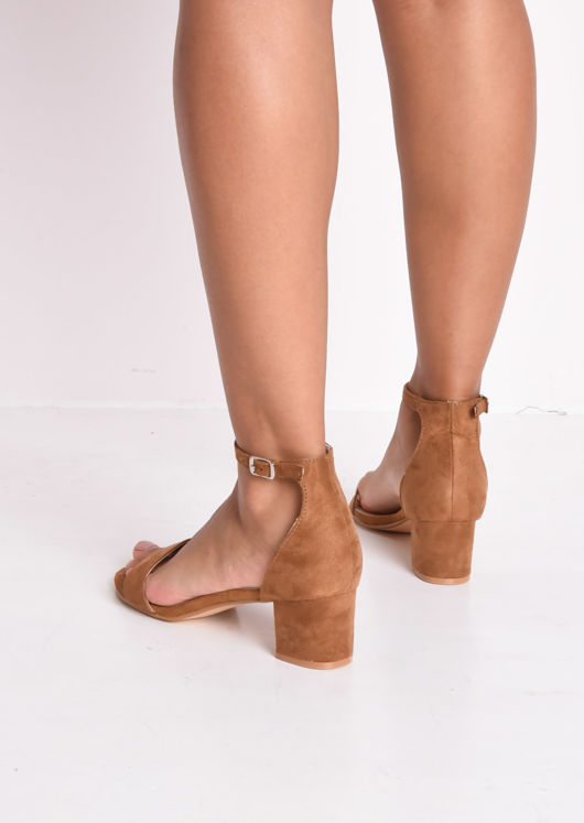 Faux Suede Block Heeled Sandals Camel Brown