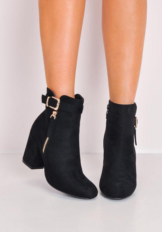 ebfe9d91fc73 Faux Suede Buckle Block Heel Ankle Boots Black