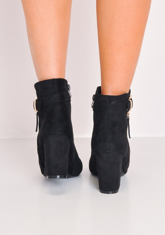 Faux Suede Buckle Block Heel Ankle Boots Black