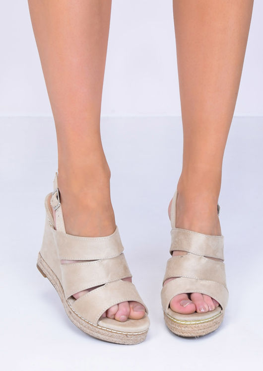 Faux Suede Cut Out Wedge Sandals Beige