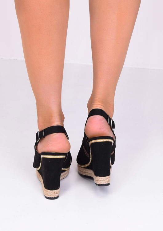 Faux Suede Cut Out Wedge Sandals Black