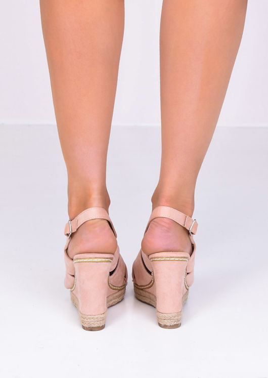 Faux Suede Cut Out Wedge Sandals Pink