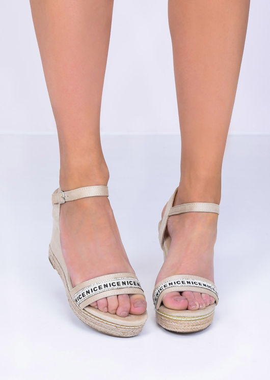 Faux Suede Diamante Wedge Sandals Beige