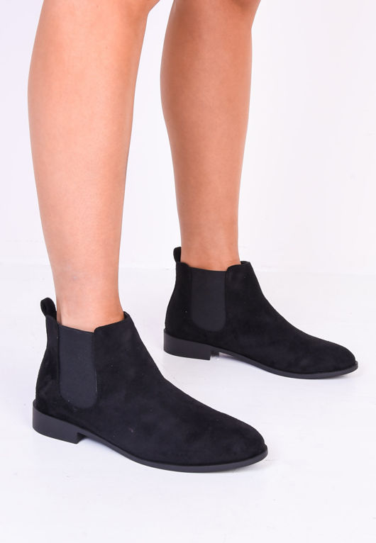 Faux Suede Elastic Insert Chelsea Ankle Boots Black