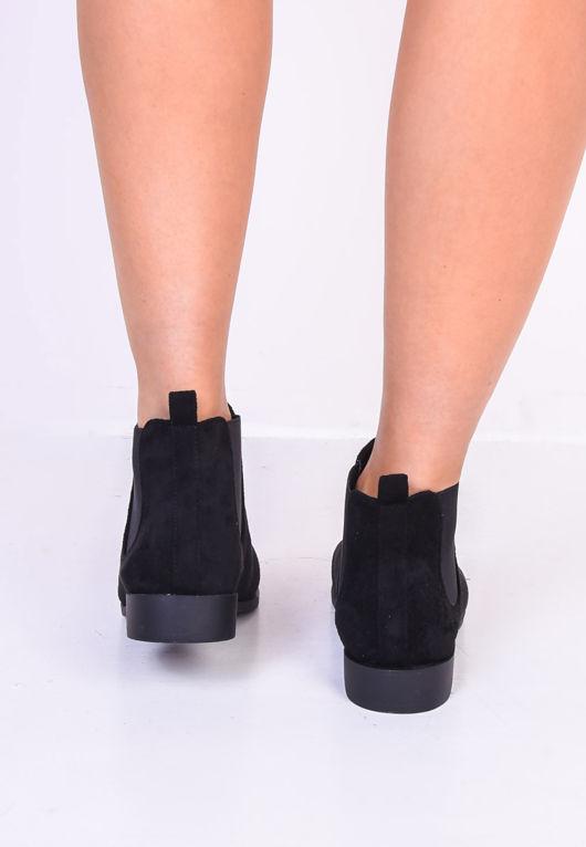 Faux Suede Elastic Insert Chelsea Ankle Boots Black