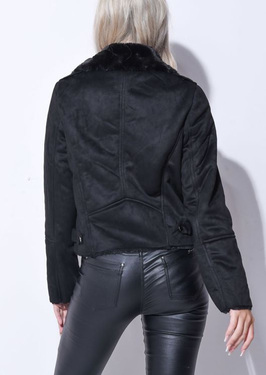 Suede Look Faux Fur Lined Crop Biker Jacket Black