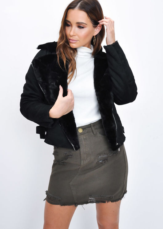 Faux Suede Faux Fur Lined Crop Biker Jacket Black