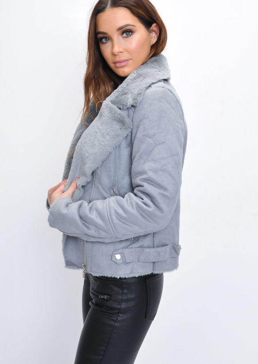 Faux Suede Faux Fur Lined Crop Biker Jacket Grey