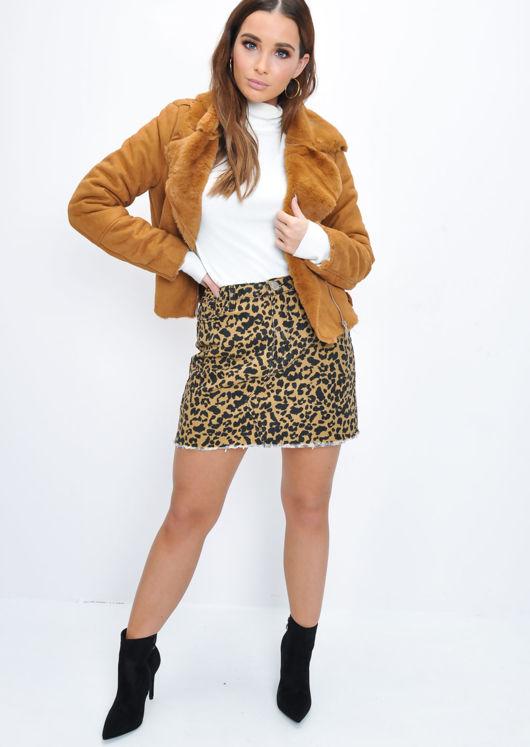 Faux Suede Faux Fur Lined Crop Biker Jacket Tan Brown