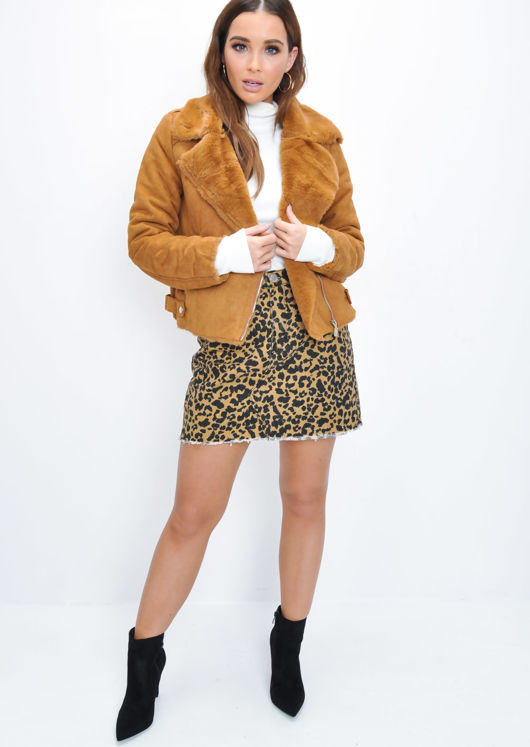 Faux Suede Faux Fur Lined Crop Biker Jacket Tan Brown
