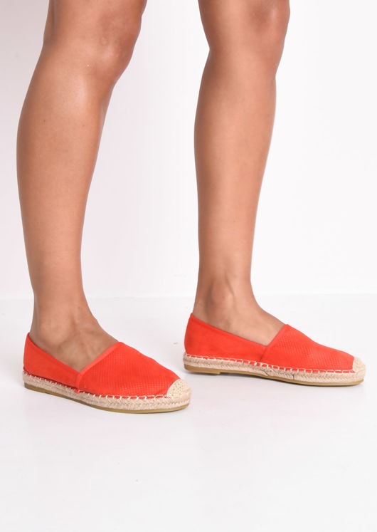 Faux Suede Flat Espadrilles Red