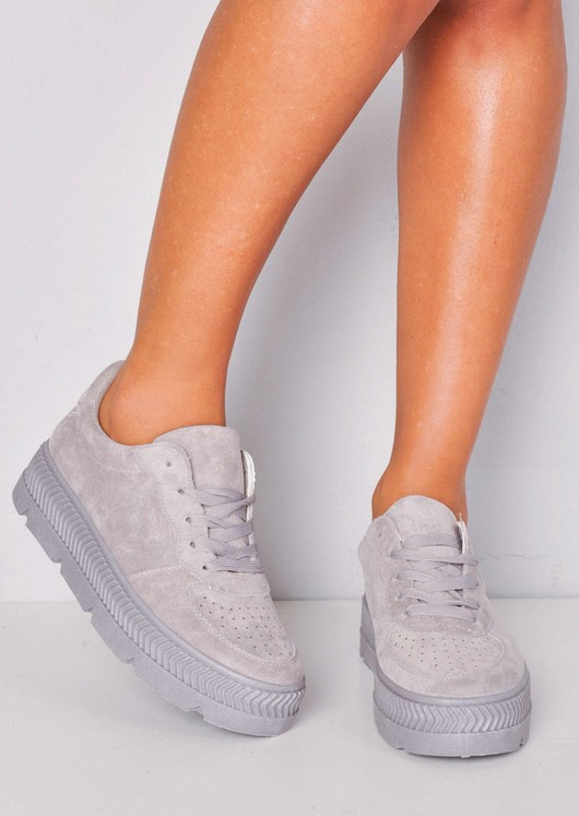 Faux Suede Flatform Lace Up Trainers Grey