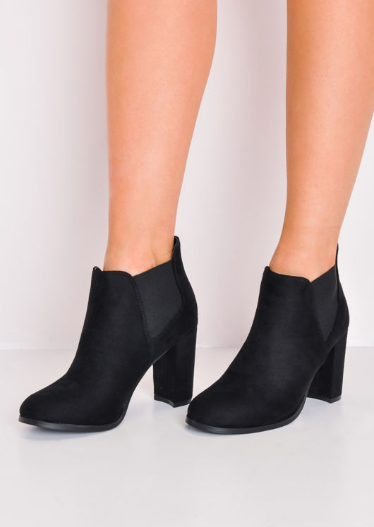 Faux Suede Heeled Ankle Boots Black