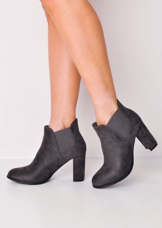 Faux Suede Heeled Ankle Boots Grey