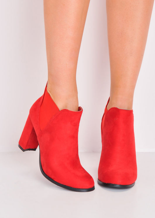 Faux Suede Heeled Ankle Boots Red