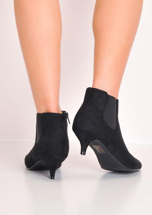 Faux Leather Kitten Low Heel Pointed